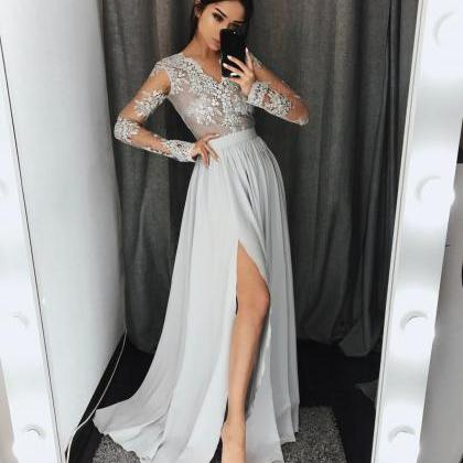Long Sleeve Light Gray Lace Prom Dr..