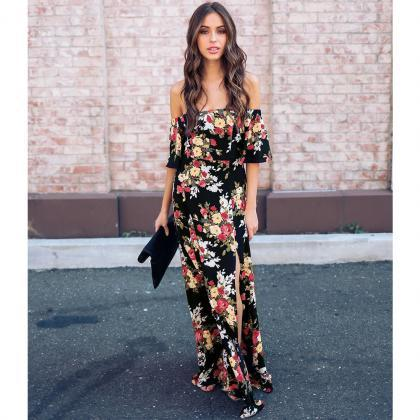 Off Shoulder Floral Flowers Prom Dr..