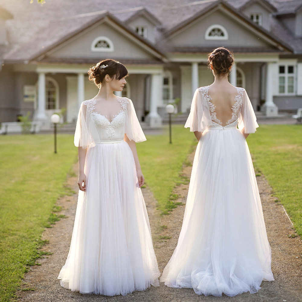 Sexy Back Open White Lace China Wedding Dresses, Half Sleeve Lace Wedding Gowns ,.A Line Bridal Gowns , Women Bridal Dresses