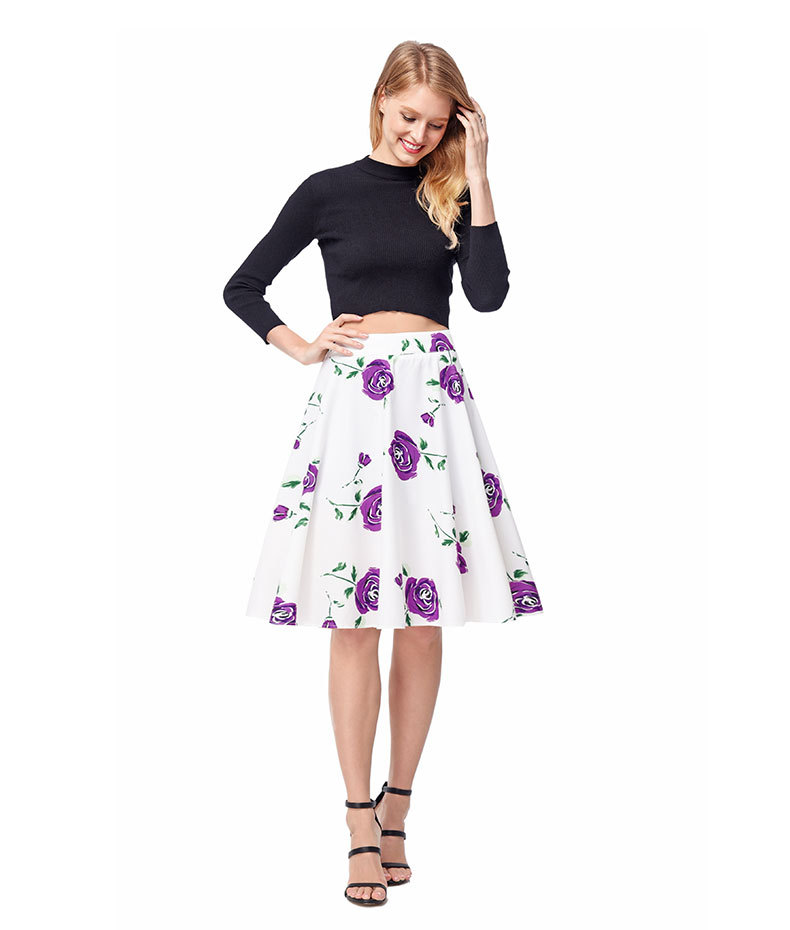 Hot Sale A Line Women Skirts A Line 50s Floral Printing Boho Skirts ,Short Skirts Girls Dress
