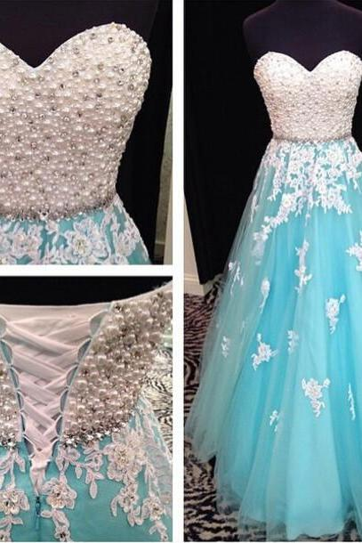 Luxury Sweetheart Crystal Long Prom Dresses Blue Tulle Lace Prom Gowns Lace Up Rhinestone Evening Dresses Women Plus Size Off Shoulder Homcoming Dress
