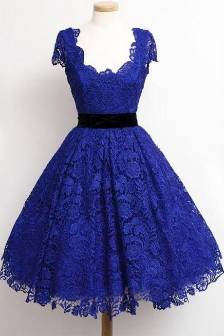 Vintage Blue Lace Homecoming Dresses Short Sleeve Black Belt Short Homecoming Dress Knee Length Girls Graduation Gowns