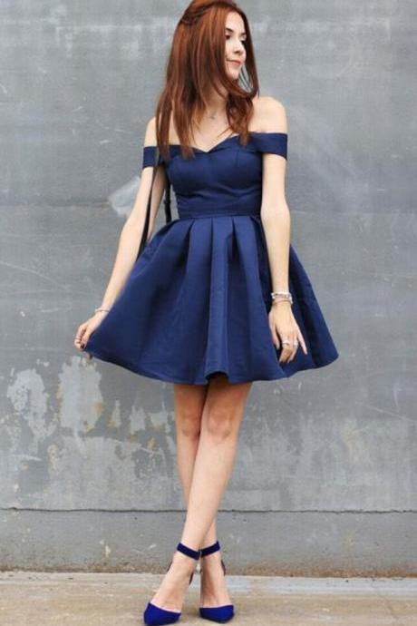 Navy Blue Satin Prom Dress Short Off Shoulder Ruffle Mini Graduation Dress Sexy Girls Cocktail Gowns Short Custom Made