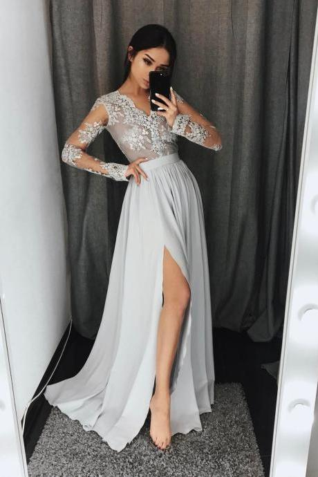 Long Sleeve Light Gray Lace Prom Dress Formal V Neck Chiffon Women Formal Gowns Sheer Sexy Girls Party Dresses Elegant High Slit Graduation Dress