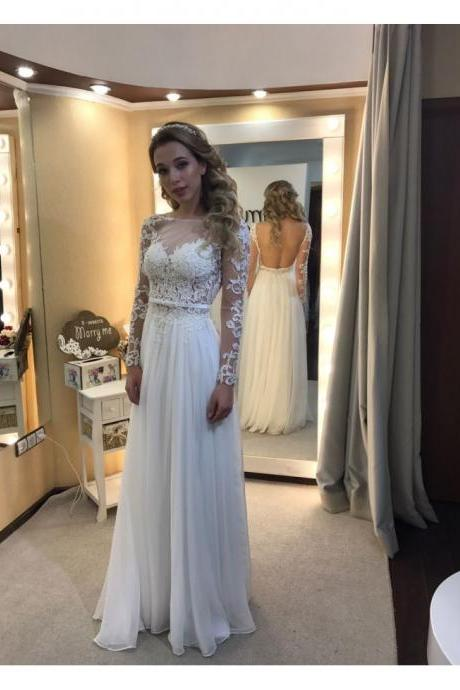 Sexy Back Open White Prom Dresses With Long Sleeve Lace Appliqued Girls Party Dresses Floor Length Belt Sheer Neck Formal Women Gowns Plus Size Graduation Gowns