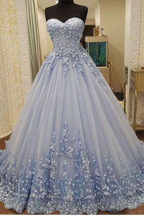 Charming Hamd Made Flower Prom Dresses Sweetheart Tulle Long Prom Gowns , Ball Gowns Prom Dresses, Party Dress, Evening Formal Gowns