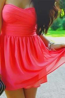 Sexy and Pretty Mini Watermelon Chiffon Prom/Homecoming Dresses, Graduation Dresses, Short Chiffon Bridesmaid Dresses. Ruffle Prom Gowns