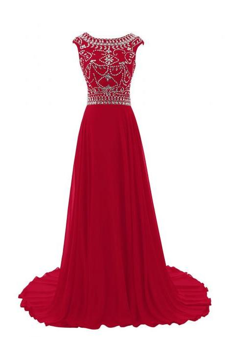 Sparkle Burgundy Beadings Prom Gown 2018, Red New Style Prom Dresses 2017, Evening Dresses,Crystal Party Dresses, Formal Gowns Sweep Train