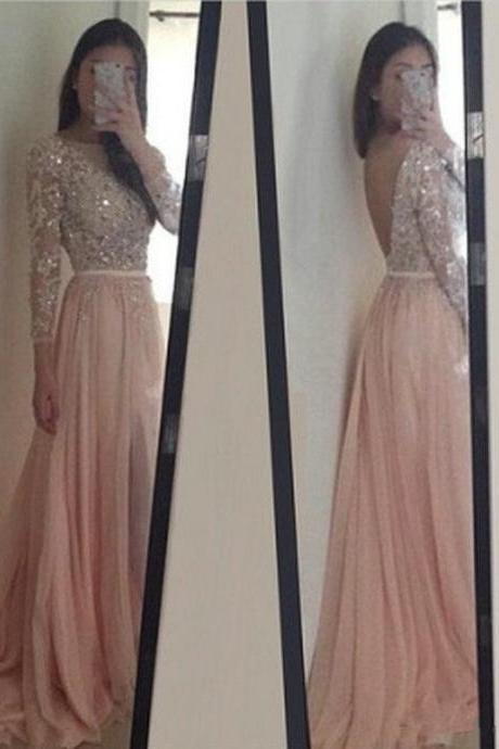 Beautiful Long Sleeve Lace Appliques Beaded Backless Light Pink Prom Dresses 2018, Evening Gowns 2018, Pink Prom Gown 2018,Arabic Evening Dress.Beaded Party Dress