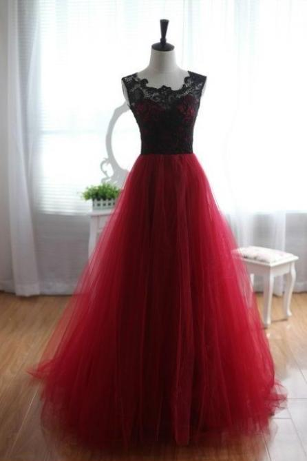 New Arrival Black And Red Long Prom Dresses 2018,Black Lace Party Dresses, Women Gowns ,Red Coxktail Dresses .Formal Gowns