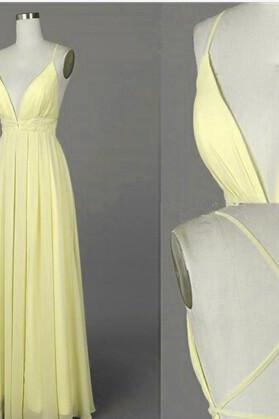 Beautiful Light Yellow Cross Back Long Chiffon Prom Dresses, Sexy Party Dresses, Evening Dresses,Cocktail Dresses Elegant