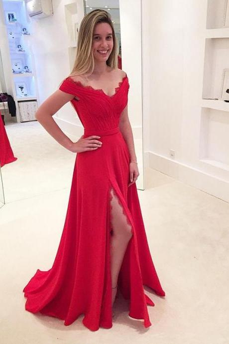 New Red Prom Dress V Neck Side Split Elegant Long Prom Evening Dress Modest Women Prom Dress,Red Evening Dresses Women Party Dresses