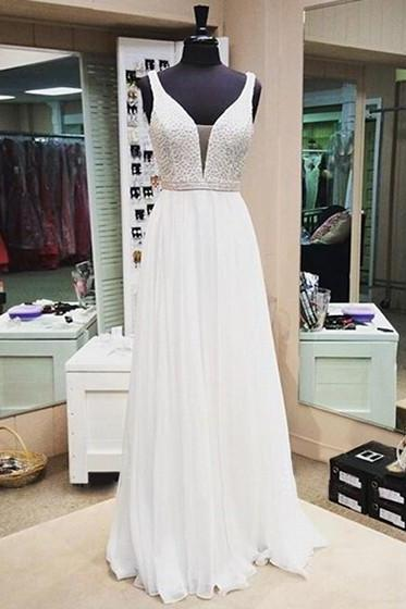 White Beaded Chiffon Prom Dresses A Line Evening Dress V Neck Sexy Pageant Gowns Custom Made Women Formal Dresses Custom Made Prom Gowns