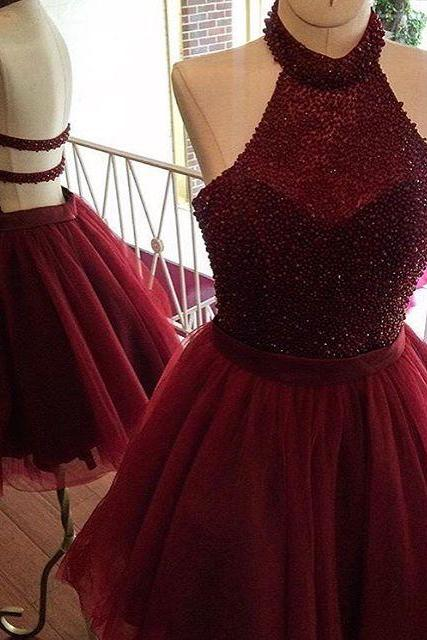 Luxury Beaded Short Homecoming Dresses Burgundy Crystal Prom Dress Mini Girls Party Dresses2018 Plus Size Women Dresses Backless Cocktail Dress