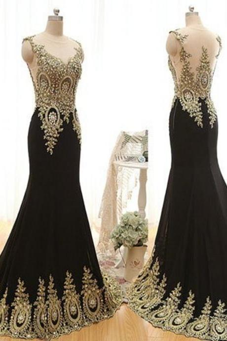 Gold Beaded Scoop Sleeveless Evening Dress Long Party Dresses,Luxury Mermaid Black Prom Dresses 2018 Sweep Train Evening Dresses Plus Size Black Long Prom Dresses