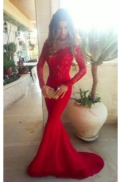 Prom Dress Formal Dress Long Sleeve Red Off The Shoulder Court Train Lace Trumpet Mermaid Prom Evening Dress 2018 Vintage Red Lace Mermaid Party Dresses