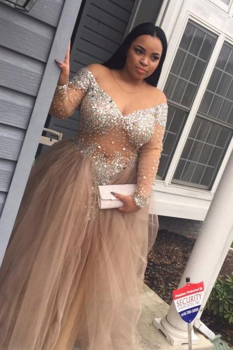 Plus Size Custom Made Beading Prom Dresses, Floor-Length Evening Dress,Prom Dresses Beaded 2018 Champagne Tulle Long Sleeve Beaded Muslim Evening Gowns