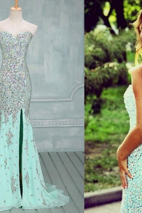 Gorgeous Prom Gown,Front Slit Prom Gown,Beaded Prom Gowns,Sequin Prom Gown,Mermaid Prom Gown,Sexy Prom Gown,Long Prom Gown,Party Dress, Long Evening Dresses,Prom Dress, Prom Dresses