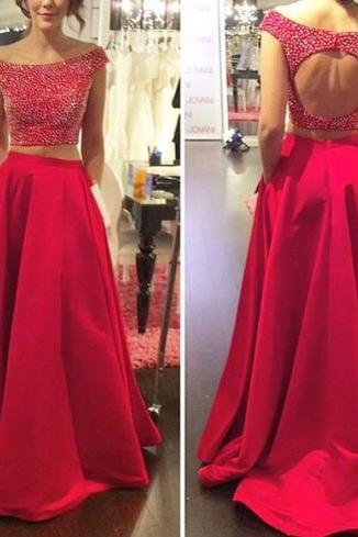 Red Prom Dresses,2 Piece Prom Gown,Two Piece Prom Dresses,Satin Prom Dresses,New Style Prom Gown, Prom Dress,Backless Prom Gowns With Cap Sleeves, Two Pieces Red Evening Dresses