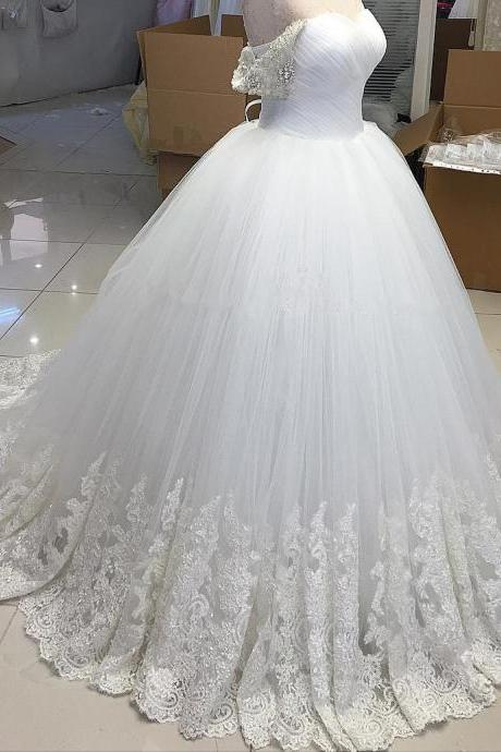 2018 Stunning Sweetheart Ruffle Pricess Wedding Dresses Off Shoulder Summer Weddings Gowns Tulle Lace Appliqued Bidal Dresses Real Image ,Arabic Dubai Wedding Dress