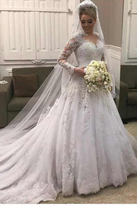 High Neck Lace Long Sleeves Wedding Dress ,Illusion Back Bridal Gown with Rpyal Train 2018 Luxury White Beaded Muslim Wedding Dresses Custom Made Bridal Long Gowns
