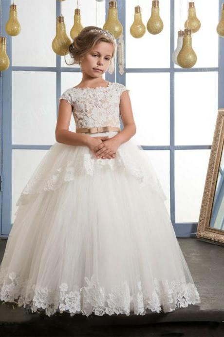 New Fashion High Quality Lace Appliques Flower Girl Dresses With belt baby girl ball gown holy communion dresses vestido daminha Kids 2018 Girls Dress For Party