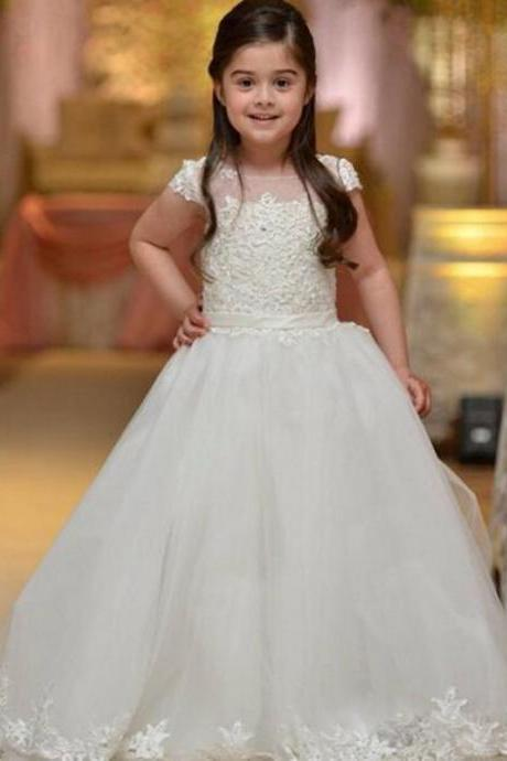 2018 Flower Girl Dresses for Wedding Pink Pageant Dresses Appliques Ball Gown First Communion Dresses for Girl Kids Evening Gown Kids,Custom Made Girls Party Gowns