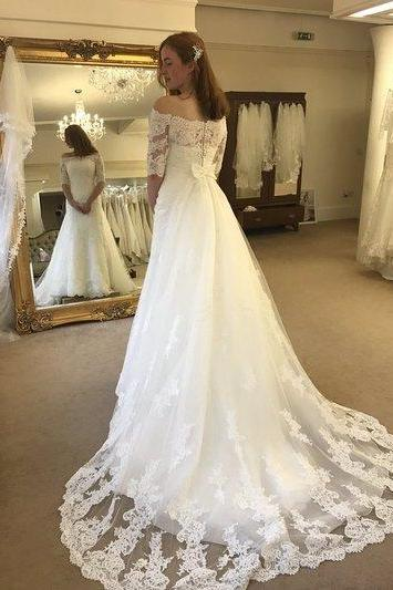 Sexy Wedding Dress,Half Sleeve A Line Lace Wedding Dresses,Lace Wedding Dress,Bridal Dress,2018 White Off Shoulder Wedding Dresses, Long Wedding Gowns