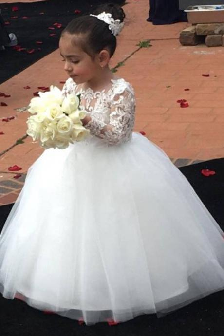 New Arrival White Lace Flowers Girls Dresses Sexy Bacl Open Kids White Satin Wedding Children Dresses 2018 , Long Sleeve Flower Girls Gowns, Appliqued Flower Girls Gowns
