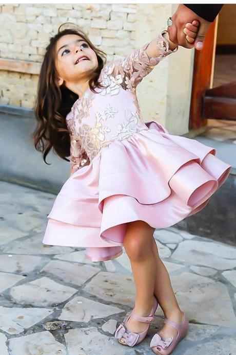 2018 Cute Short Pink Satin Girls Wedding Pageant Gowns Tired Skirt First Communication Dresses with Bow Custom Made, Long Sleeve Lace Wedding Girls Gowns, Sexy Backless Flowers Girls Dresses