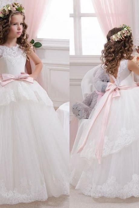 Lovely Ball Gown Lace Flower Girls' Dresses Plus Size With Sleeveless Bow Kids First Communion Dresses 2018 Pageant Dresses For Girls Jewel,Wedding Kid Gowns