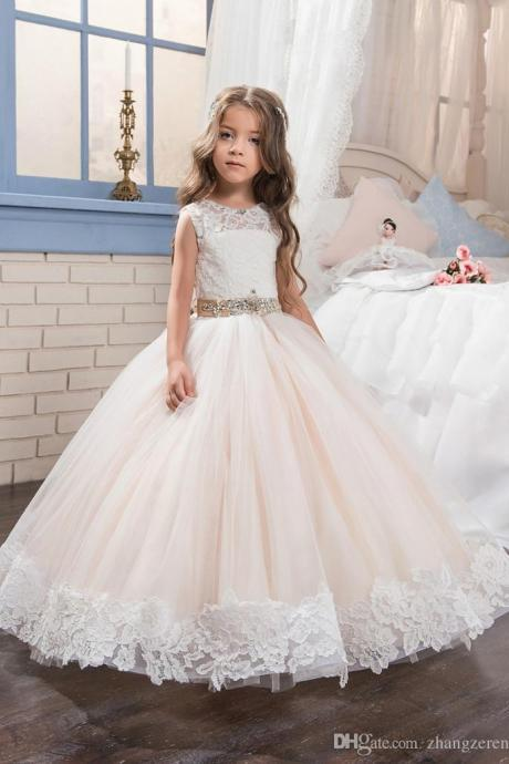 2018 New Arrival White Lace Flower Girls Dresses Off Shoulder Wedding Kids Gowns Pink Skirts Wedding Pageant Gowns,Flower Girls Gowns