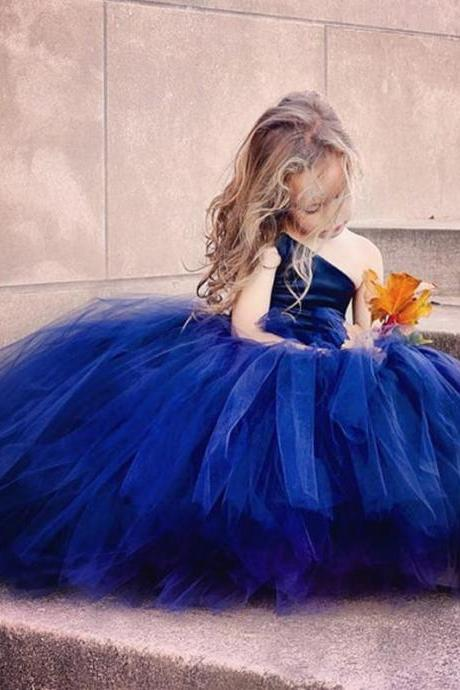 Royal Blue Flower Girl Dresses For Toddlers One Shoulder Tulle A Line Cupcake Pageant Gowns For Wedding Beads Back Lace Up Communion Dress 2018