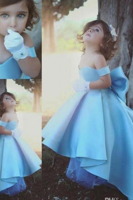 2018 New Arrival Sweetheart Satin High Low Sweep Train Big Bow Ruffle Special Beautiful Romantic Chic Little Girl Formal Dresses,2018 Blue Flower Girls Dresses, Wedding Girls Gowns