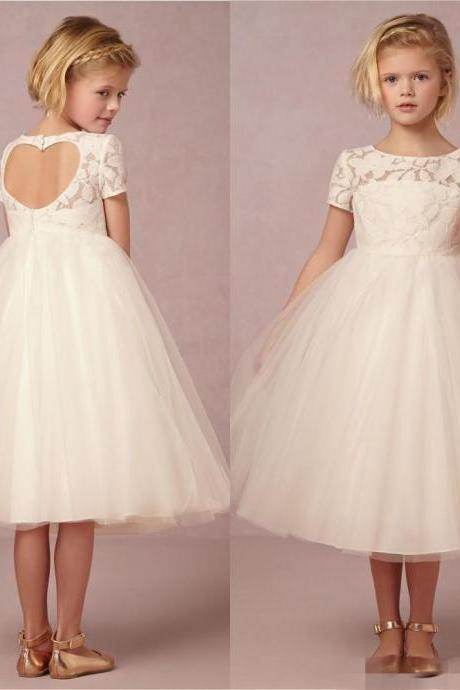 New Lovely 2018 Cute Junior Flower Girls Dresses For Weddings Children Little Girl Pageant Dress Lace Tea Length Tulle Kids Long Gowns ,Wedding Flowers Dress