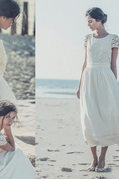 2018 Boho Beach Wedding Dressses With Short Sleeves Chapel A Line Bohemian Bridal Gown Plus Size New China Tea Length Lace Wedding Gowns,Sample Wedding Gowns
