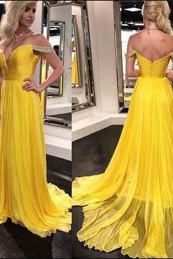 Chiffon Evening Dress, Simple Prom Dress,Off Shoulder Prom Dress,Sexy Prom Dresses, Long Evening Dress, Formal Dress,2018 Sweep Train Long Evening Dress, Custom Made Wedding Party Gowns