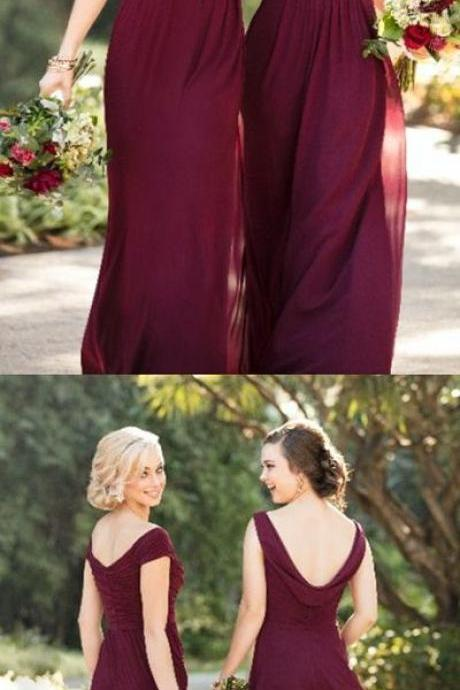 elegant burgundy bridesmaid dresses,simple chiffon wedding party dress,long off the shoulder bridesmaid dress, Plus Size Ruffle Women Party Dress, Bride Maid Gowns