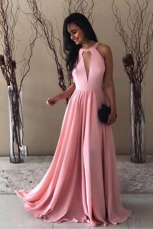 Pretty Pink Halter Chiffon Prom Long Dresses Open Back Evening Gowns 2018 New Arrival Sexy Backless Women Party Gowns ,A Line Women Party Gowns