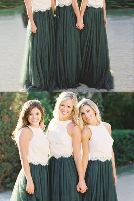 A-Line Bridesmaid Dresses, Round Neck Bridesmaid Dresses, Dark Green Bridesmaid Dresses with white Lace 2018 Plus Size Women Party Gowns ,Bridesmaid Dresses