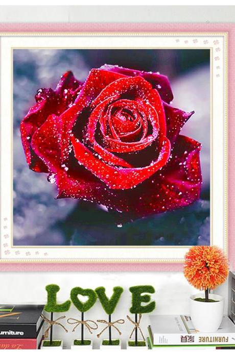 Full,Diamond Embroidery,Flower,Rose,5D,Diamond Painting,Cross Stitch,3D,Diamond Mosaic,Needlework,Crafts,Christmas,Gift,home decoration accessories,handwork 5d