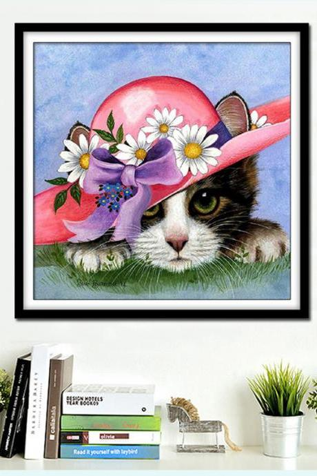 Diamond Embroidery,Animal,Cat,Cut,5D,Diamond Painting,Cross Stitch,3D,Diamond Mosaic,Needlework,Christmas,Gift,Crafts,2018 home decoration accessories