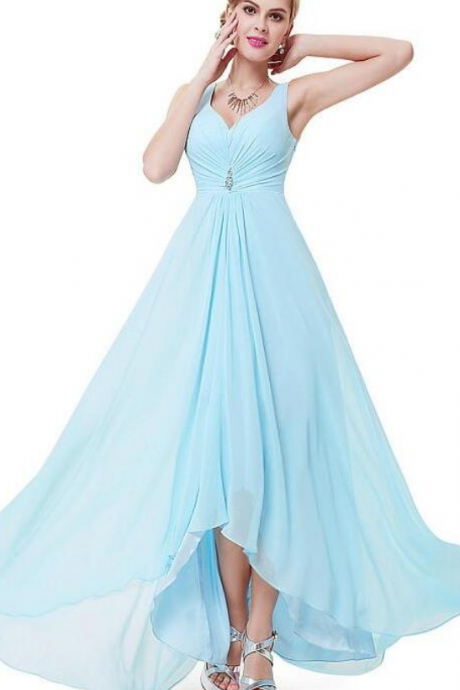 Light Blue Chiffon Plunge V Sleeveless Floor Length A-Line Wedding Guest Dress