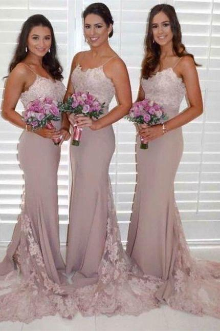 Mermaid Spaghetti Straps Long Blush Bridesmaid Dress with Appliques,2018 Women Party Gowns ,Sweep Train Bridesmaid Gowns ,Off Shoulder Party Gowns