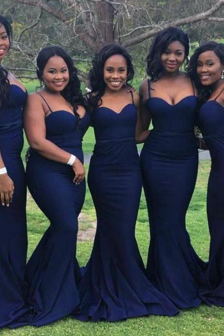 Sweetheart Long Mermaid Style Bridesmaid Dress ,2018 Navy Blue Long Bridesmaid Dresses , Off Shoulder Women Party Gowns , Wedding Girls Gowns .Brides Maid Dresses