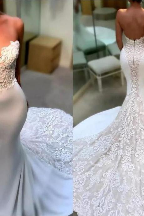 Gorgeous-Appliques-Satin-Mermaid-Wedding-Dress-White-Ivory-Zipper-Bridal-Gown Gorgeous-Appliques-Satin-Mermaid-Wedding-Dress-White-Ivory-Zipper-Bridal-Gown Gorgeous-Appliques-Satin-Mermaid-Wedding-Dress-White-Ivory-Zipper-Bridal-Gown Have one to sell? Sell now Gorgeous Appliques Satin Mermaid Wedding Dress White/Ivory Zipper Bridal Gown,Plus Size China Wedding Dresss