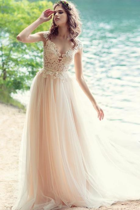 Blush Bohemian Beach Wedding Dress with Open V Back2018 Sexy Lace Wedding Dresses,Simple Women Party Gowns ,Bridal Gowns ,A line Brdial Dresses