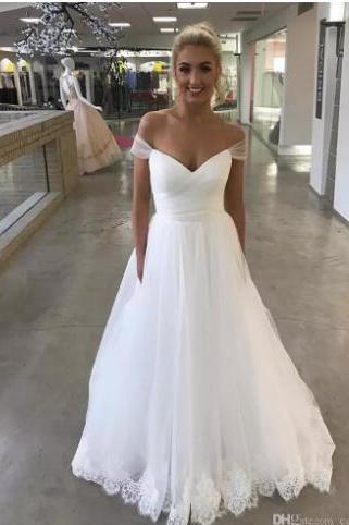 Sexy V-neck Ball Gown Wedding Dresses 2018 With Applique Lace Off The Shoulder Girls Formal Bridal Gowns New Backless Dress For Weddings,Sample China Wedding Dresses .