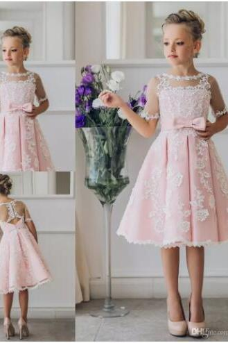Pretty Scoop Neck Half Sleeve Flower Girl Dresses Custom Made Button Back Lace Knee-length Girls Pageant Dresses Kids Birthday Party Dresses,Short Lace Wedding Flower Girls Gowns .