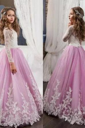 Lovely Lace Flower Girls Dresses For Weddings Pink Long Sleeves A Line Long Pageant Dresses for Girls Kids Prom Gowns,Custom Made Wedding Flower Gowns ,Women Party Gowns .